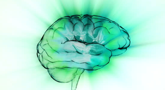 Green hue brain image filled with healthy water