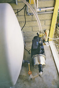 Smart Pump and tank below WoLF Installation in shed