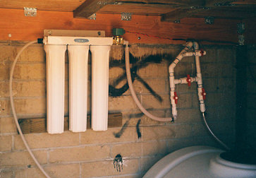 Plumbing and filtration ahead of WoLF Installation in shed