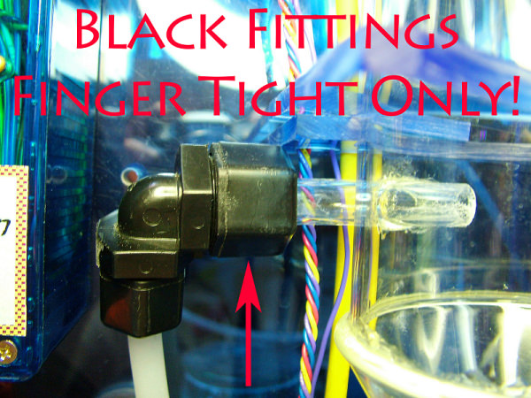 WoLF easy setup Black Finger Tight ONLY fitting. Too much tightening risks breaking the glass tube