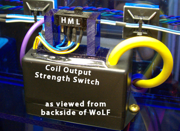 WoLF AMT Coil output strength switch controls water conductivity load